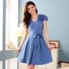 เดรสผ้าฝ้ายtencelยืด สีน้ำเงิน (XL,2XL,3XL) JK•3214