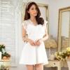 เดรสคอวีผ้าลูกไม้สวยคลาสสิก สีขาว/สีดำ (F,XL,2XL,3XL) JK-9753