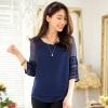 เสื้อชีฟองไซส์ใหญ่ สีน้ำเงิน แขนสามส่วน ผ้าเนื้อนิ่มใส่สบาย (XL,2XL,3XL) JK-9737
