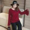 เสื้อผ้าฝ้ายเกาหลี ผ้ายืด แขนกระดิ่ง สีไวน์แดง (XL,2XL,3XL,4XL)