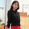 เสื้อคลุมแขนยาว ผ้าลูกไม้เกาหลี ติดกระดุม สีดำ/สีแอปริคอท(สีเบจ) (XL,2XL,3XL,4XL) JK-9647
