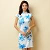 ชุดกี่เพ้าสั้นผ้าซาตินยืดไซส์ใหญ่ คอจีน กระดุมจีน แขนในตัว สีฟ้าลายดอก (XL,2XL,3XL) JK-9868