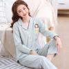 ชุดนอนผ้าฝ้ายลายทางสไตล์เรียบง่าย เสื้อเชิ้ตติดกระดุมแขนยาว+กางเกงขายาว เอวยืด (M,L,XL,2XL,3XL) ON-6966