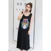 ชุดเดรสยาวแขนกุดสีดำลายรูปหน้าหญิงสาว สวมใส่สบาย (XL,2XL,3XL,4XL) ZX0524