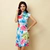 ชุดกี่เพ้าสั้นผ้าซาตินยืดสไตล์คลาสสิก คอจีน กระดุมจีน แขนในตัว สีแดงลายดอก (XL,2XL,3XL)