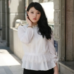 ++พร้อมส่ง++ เสื้อชีฟอง แต่งช่วงเอวด้วยผ้าลูกไม้เกาหลี สีขาว (5XL) A~11166
