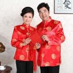++พร้อมส่ง++ เสื้อจีนชาย-หญิงพิมพ์ลายคลาสสิก สีแดง (3XL)