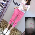 สินค้ามีรอยเลอะ ที่ตัวเสื้อ (ตามรูป) ชุดเซ็ทไซส์ใหญ่ เสื้อยืดคอกลมพิมพ์ลาย+กางเกงฮาเร็มสีชมพู (4XL)