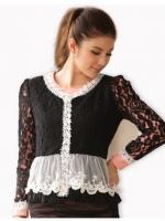 เสื้อคลุมไซส์ใหญ่ ผ้าลูกไม้ สีขาว/สีดำ แขนยาว ชายเสื้อระบาย (XL,2XL,3XL)