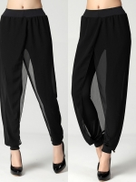 กางเกงชีฟองสีดำ ทรงหลวมสไตล์ฮาเร็ม เอวยางยืด แต่งผ้าป้ายซ้อน ปลายขายืดรัดข้อเท้า (XL,2XL,3XL,4XL,5XL) W5012