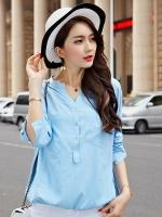 {พร้อมส่ง} เสื้อทีเชิ้ตแขนยาวไซส์ใหญ่สไตล์เกาหลี สีฟ้า (4XL)