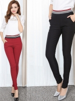 กางเกงขายาวไซส์ใหญ่ ทรงดินสอ เอวยางยืด สีน้ำเงิน/สีแดง/สีดำ (2XL,3XL,4XL,5XL,6XL) H19505
