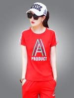 ++พร้อมส่ง++ ชุดกีฬาไซส์ใหญ่ เสื้อยืดแขนสั้น+กางเกงสามส่วน สีแดง (5XL)