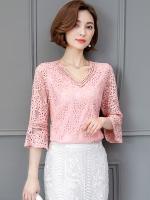 ++พร้อมส่ง++ เสื้อลูกไม้ คอวี สีชมพูแสนสวย (4XL)