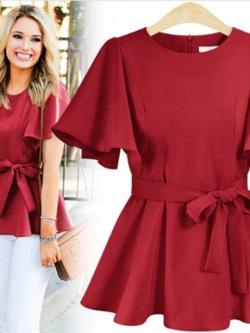 ♥พร้อมส่ง♥ เสื้อชีฟองสีแดง แขนสั้น พร้อมผ้าคาดเอว 5XL(อก 48)