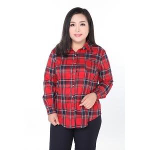 เสื้อเชิ้ตผ้าฝ้ายลายสก๊อตสลิมแขนยาวสไตล์เกาหลี (2XL,3XL,4XL,5XL,6XL,7XL,8XL,9XL) TX109