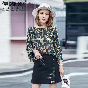 เสื้อชีฟองสีเขียวลายดอกไซส์ใหญ่ คอปาดรูดผูกโบว์ (XL,2XL,3XL,4XL,5XL) E3383