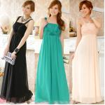 ชุดราตรีชีฟองยาว สีดำ/สีเขียว/สีชมพู (XL,2XL,3XL)