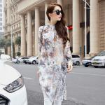 เสื้อทีเชิ้ตตัวยาวสีขาวพิมพ์ลายแขนยาวไซส์ใหญ่สไตล์เกาหลี (XL,2XL,3XL,4XL,5XL) E3091