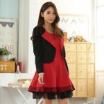 ชุดเซ็ท 2 ชิ้น ชุดเดรสสีแดง+เสื้อคลุมสีดำ (XL,2XL,3XL)