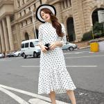 ชุดเดรสชีฟองยาวสาวอวบพิมพ์ลายแฟชั่นเกาหลี สีขาว (XL,2XL,3XL,4XL,5XL) A-3092