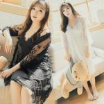 ชุดนอนกระโปรง+เสื้อคลุมชุดนอน สีขาว/สีดำ (XL,2XL,3XL)