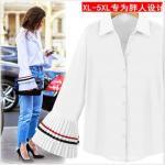 [PRE-OREDER] เสื้อเชิ้ตแฟชั่นเกาหลี แขนกระดิ่ง สีขาว (XL,2XL,3XL,4XL,5XL)
