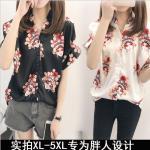 [PRE-ORDER] เสื้อเชิ้ตซาตินสีดำ/สีขาวพิมพ์ลายสาวงิ้ว (XL,2XL,3XL,4XL,5XL)