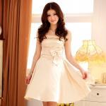 ชุดราตรีผ้าไหมซาตินสาวอวบ สีส้ม/สีแชมเปญ/สีม่วง (XL,2XL,3XL) JK-3201