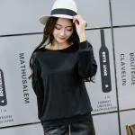 เสื้อทีเชิ้ตสีดำไซส์ใหญ่ คอกลม แขนยาวแต่งผ้าลูกไม้ (XL,2XL,3XL)