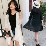 เสื้อคลุมชีฟอง แขนยาว สีขาว/สีดำ (XL,2XL,3XL,4XL)