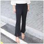 [PRE-ORDER] กางเกงขายาวสีดำ ปลายขาตัดแฉกตกแต่งด้วยผ้าลูกไม้ (3XL,4XL,5XL,6XL)