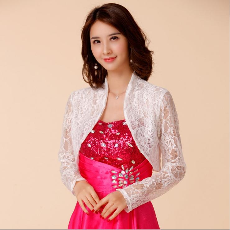 เสื้อคลุมไหล่สีขาวผ้าลูกไม้cropแขนยาว (F,XL,2XL,3XL,4XL) JK-9670