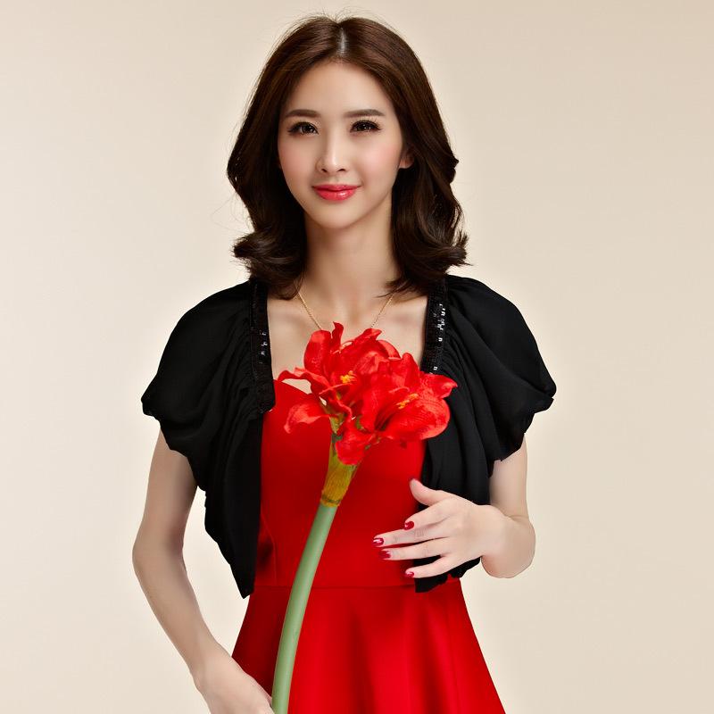 เสื้อแฟชั่นผ้าคลุมไหล่ชีฟองกันแดด สีขาว/สีดำ (F,XL,2XL,3XL) JK-9860