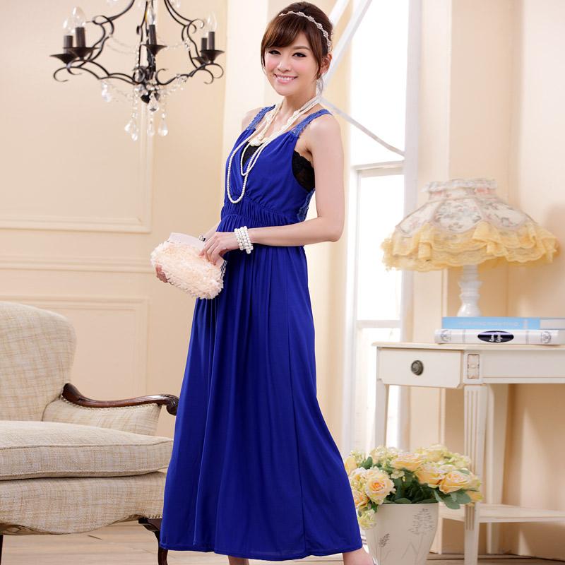 ชุดราตรียาวไซส์ใหญ่ คอวี สีน้ำเงิน XL 2XL 3XL