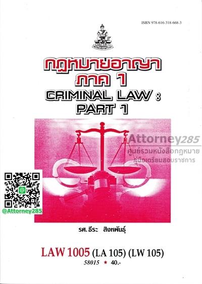 กฎหมายอาญา ภาค 1 LAW 1005 ธีระ สิงหพันธุ์