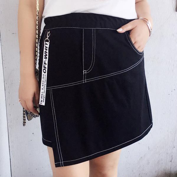 กระโปรงสั้น เย็บด้ายสีขาวตัดกับผ้าสีดำเก๋ๆ (XL,2XL,3XL) Ai-2185