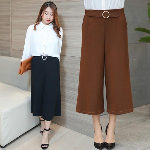 กางเกงผ้าทอเนื้อไข่มุกสไตล์croppedไซส์ใหญ่ สีดำ/สีน้ำตาล (XL,2XL,3XL,4XL) #6291