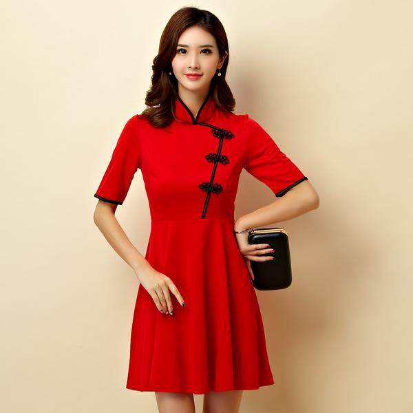 ชุดกี่เพ้าสั้นไซส์ใหญ่ คอจีน แต่งกระดุมจีน แขนสั้น สีแดง (XL,2XL,3XL) JK-9950