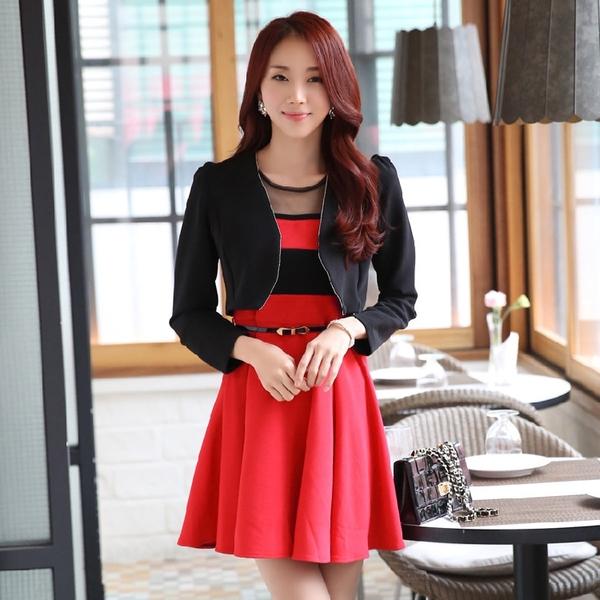 Set 2 ชิ้น ชุดเดรส + เสื้อคลุม สีดำ/สีแดง (XL,2XL,3XL)