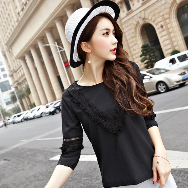 เสื้อทีเชิ้ตไซส์ใหญ่สไตล์เกาหลี สีดำ/สีชมพู (XL,2XL,3XL,4XL,5XL) E3101