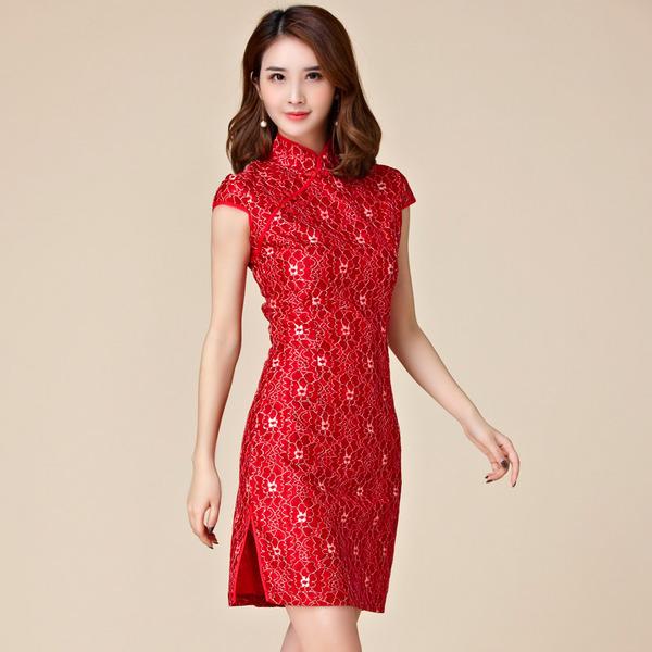 ชุดกี่เพ้าสั้นสีแดงลายดอกไม้สวย (XL,2XL,3XL) JK-9882