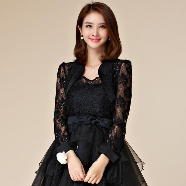 เสื้อคลุมไหล่ลูกไม้แขนยาว สีดำ/สีขาว สวมคู่ชุดเจ้าสาว/เพื่อนเจ้าสาว/ชุดราตรีเพื่อเพิ่มความหรูหรา (XL,2XL,3XL) JK-9667