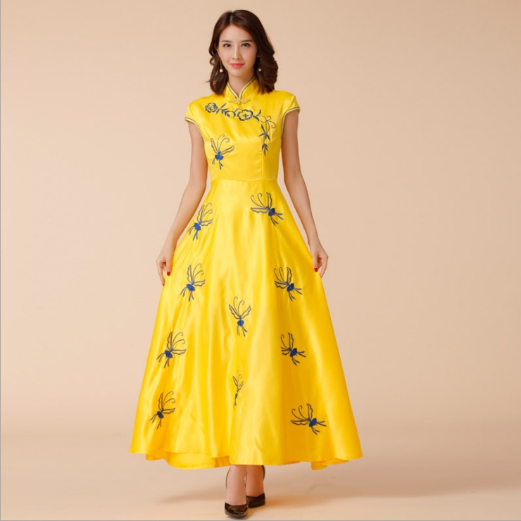 ชุดกี่เพ้ายาวสีเหลืองไซส์ใหญ่ (M,L,XL,2XL,3XL) JK-9885