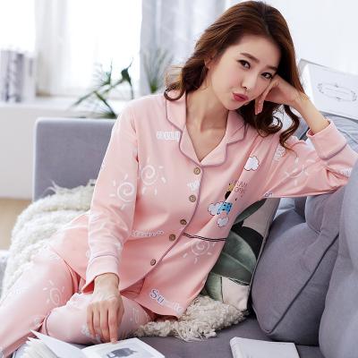 ชุดนอนผ้าฝ้ายสีชมพูลายการ์ตูน เสื้อเชิ้ตติดกระดุมแขนยาว+กางเกงขายาว เอวยืด (M,L,XL,2XL,3XL) ON-6946