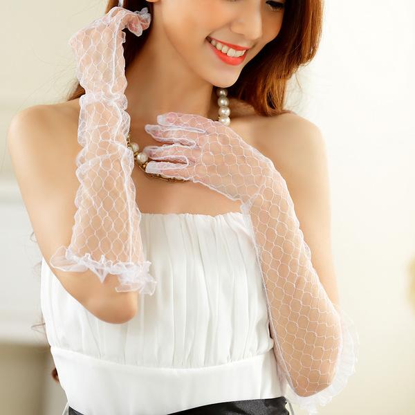 ถุงมือเจ้าสาวแบบยาว สีขาว
