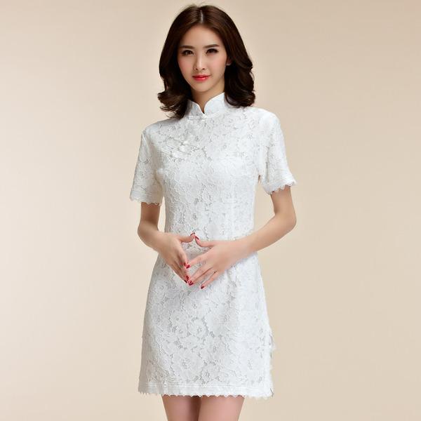 ชุดกี่เพ้าผ้าลูกไม้ไซส์ใหญ่ สไตล์แฟชั่น China Daily แขนสั้น สีขาว/สีดำ (XL,2XL,3XL) JK-9857