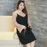 เสื้อผ้าฝ้ายเกาหลี ผ้ายืด แขนกระดิ่ง สีน้ำตาลอ่อน (XL,2XL,3XL,4XL)