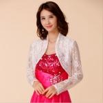 [PRE-ORDER] เสื้อคลุมไหล่สีขาวผ้าลูกไม้cropแขนยาว (F,XL,2XL,3XL,4XL)