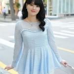 เสื้อชีฟองไซส์ใหญ่สีฟ้า ติดไข่มุกสวยหรู (L)
